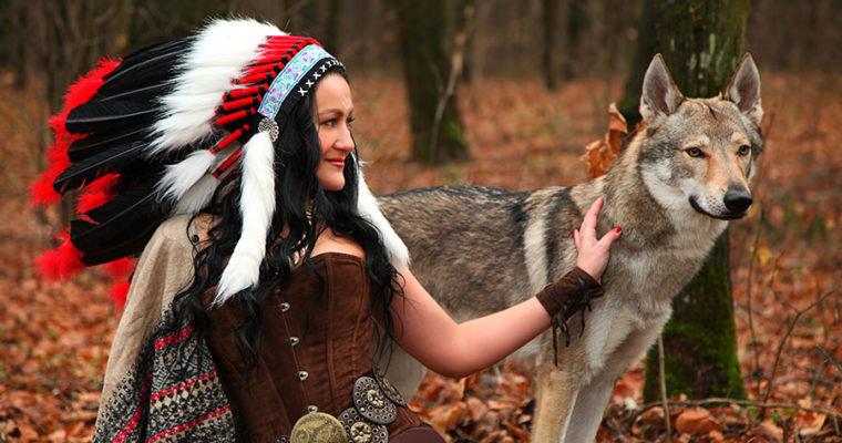 Индианка и волк