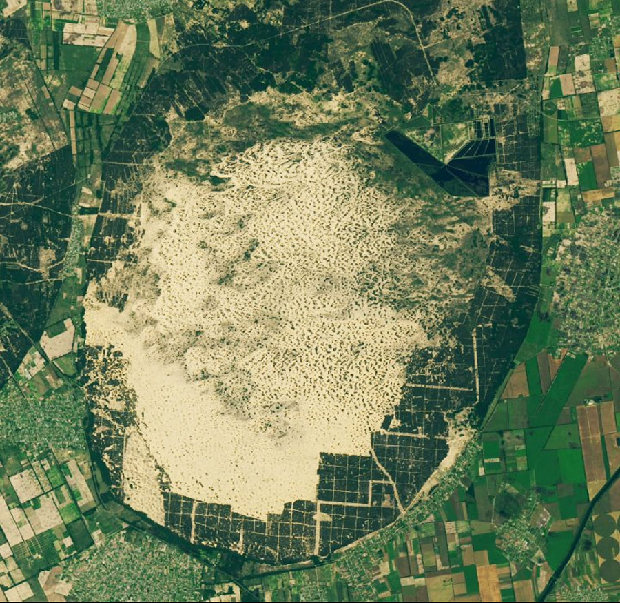 Вид на Олешковские пески со спутника